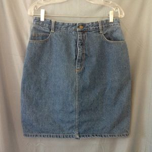 1980s high waisted denim pencil skirt, jean skirt
